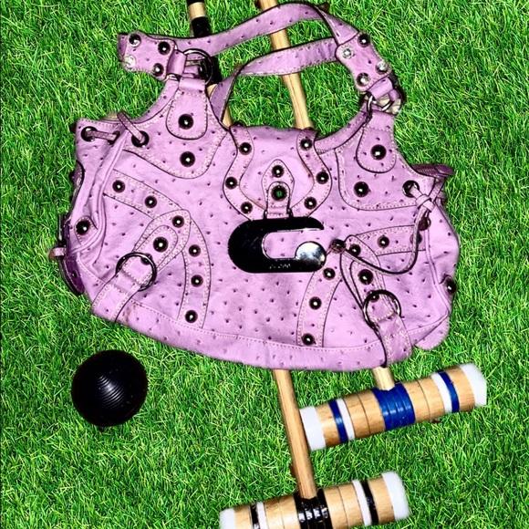 Guess Handbags - Purple Ostrich Embossed Faux Leather Handbag